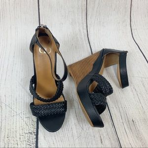 Kelsi Dagger Allegria Black Sandal Wedges 7.5